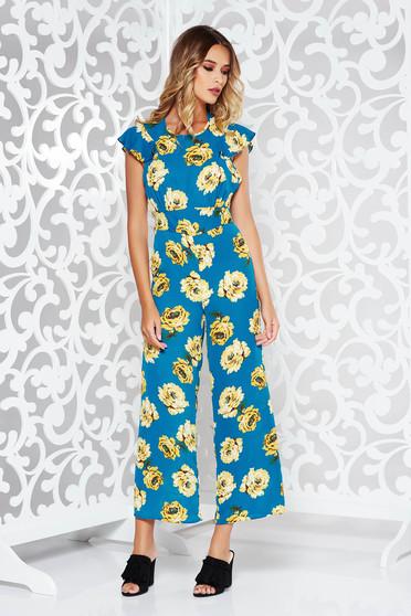 Salopeta albastra StarShinerS lunga din voal cu imprimeuri florale cu spatele decupat