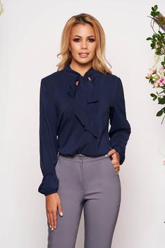 Bluza dama StarShinerS albastru-inchis eleganta cu croi larg din voal cu maneci lungi si guler tip esarfa