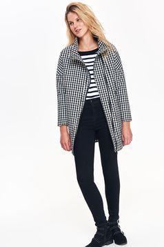 Palton Top Secret gri casual drept cu maneci lungi in carouri
