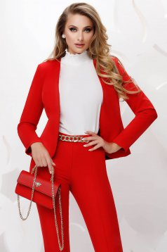 Red office tented jacket slightly elastic fabric with padded shoulders