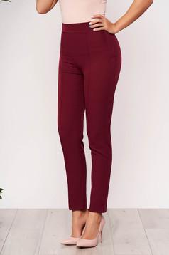 Pantaloni StarShinerS visinii office conici din stofa elastica cu talie inalta si buzunare