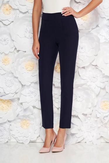 Pantaloni StarShinerS albastri-inchis eleganti office cu talie inalta din material usor elastic cu buzunare