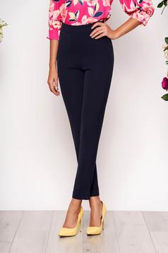 Pantaloni StarShinerS albastru-inchis eleganti office cu talie inalta din material usor elastic cu buzunare