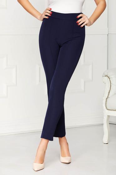 Pantaloni StarShinerS albastru-inchis office conici din stofa elastica cu talie inalta si buzunare