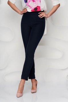 Pantaloni StarShinerS albastru-inchis office conici din material usor elastic cu talie inalta