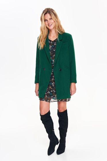 Palton Top Secret verde basic cu un croi drept din material gros