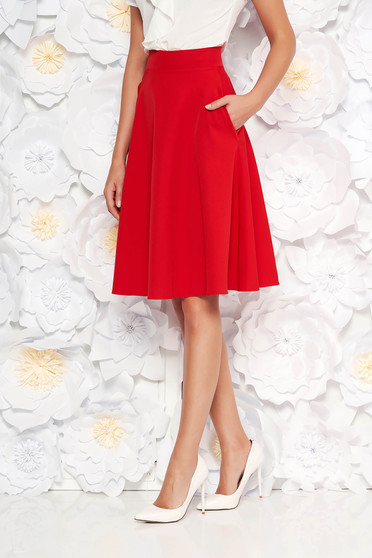 Fusta StarShinerS rosie eleganta in clos cu talie inalta din stofa usor elastica office