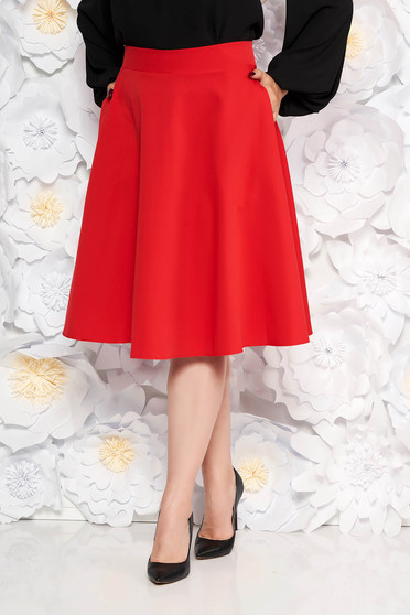 Fusta StarShinerS rosie midi eleganta in clos cu talie inalta cu buzunare fara captuseala
