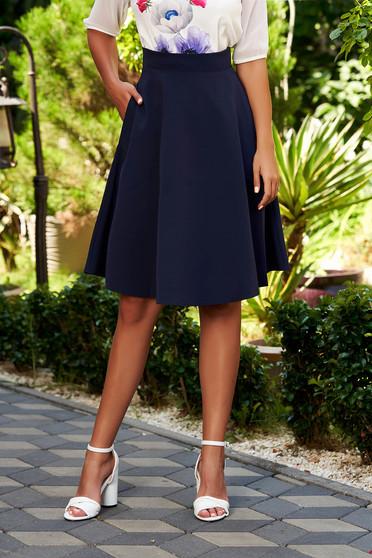 Fusta StarShinerS albastra-inchis eleganta in clos cu talie inalta din stofa usor elastica office