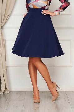 StarShinerS darkblue elegant cloche skirt high waisted slightly elastic fabric