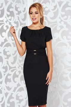 Rochie LaDonna neagra eleganta tip creion din material usor elastic captusita pe interior