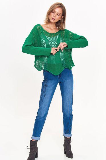 Pulover Top Secret verde casual cu croi larg din material tricotat cu decupaje in material