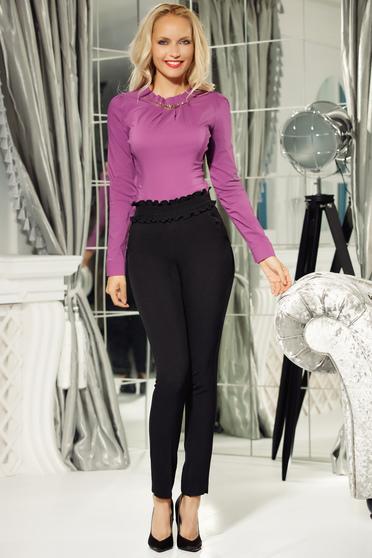 Pantaloni Fofy negri conici cu talie inalta din material elastic cu un croi mulat si buzunare