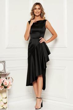 Rochie neagra de ocazie asimetrica fara maneci din material satinat cu volanase