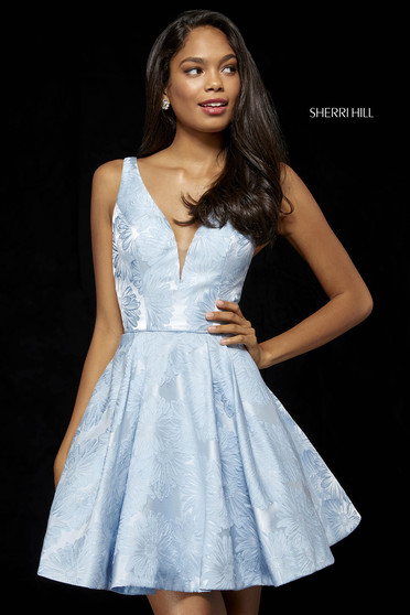 Rochie Sherri Hill 52177 light blue