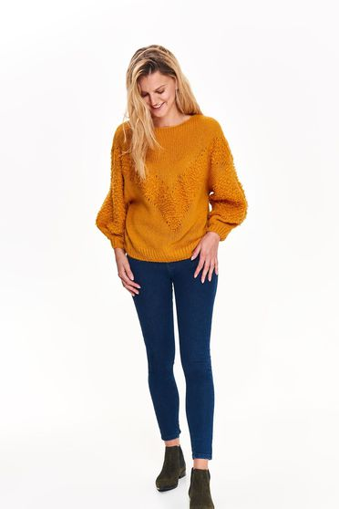 Pulover Top Secret galben casual cu croi larg cu maneci lungi din material tricotat