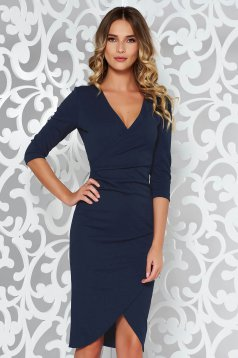 StarShinerS darkblue office wrap around dress from elastic fabric with tented cut with v-neckline
