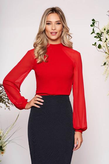 Bluza dama StarShinerS rosie eleganta din material elastic cu croi larg cu maneci lungi