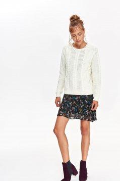 Pulover Top Secret alb casual cu croi larg cu maneci lungi din material tricotat