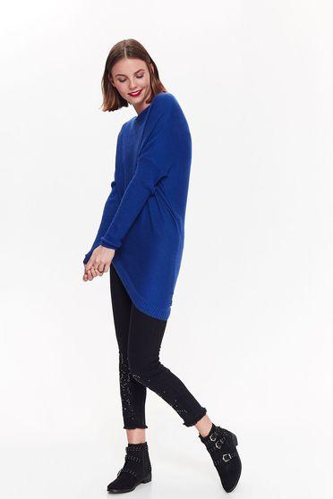 Pulover Top Secret albastru casual asimetric cu croi larg din material tricotat