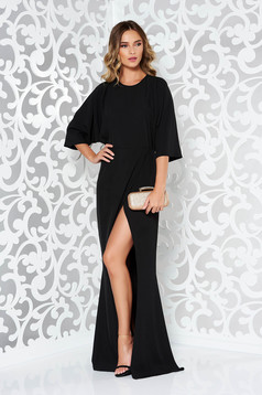 Rochie neagra de ocazie din material usor elastic si fin la atingere cu spatele decupat