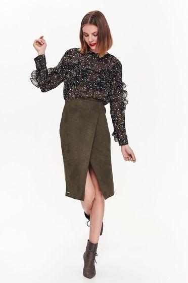 Bluza dama Top Secret neagra casual cu croi larg cu volanase material usor transparent