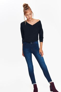 Top Secret darkblue skinny jeans slightly elastic cotton with medium waist with pockets