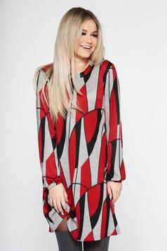 Rochie rosie StarShinerS de zi cu croi larg din material tricotat