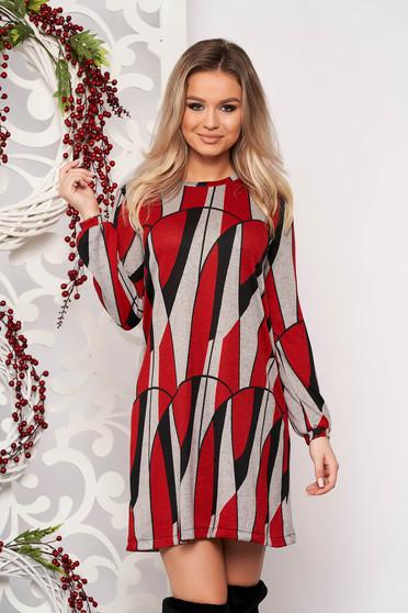 Rochie StarShinerS rosie de zi din material tricotat cu croi larg si maneci lungi
