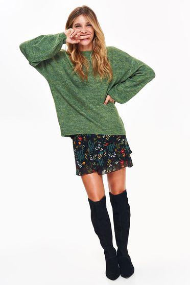 Pulover Top Secret verde casual cu croi larg cu maneci lungi din material tricotat