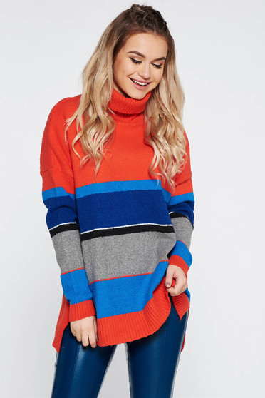 Pulover Top Secret portocaliu casual cu croi larg din material tricotat