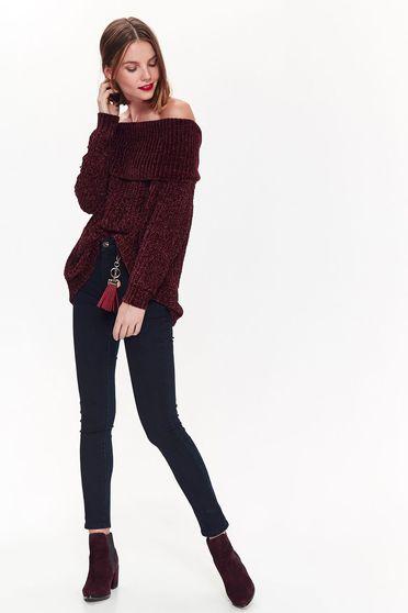 Pulover Top Secret mov casual cu croi larg din material tricotat pe umeri
