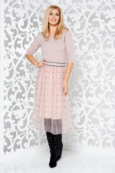 Rochie StarShinerS lila de zi in clos din material tricotat cu tul cu elastic in talie