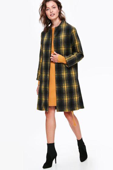 Palton Top Secret negru casual din stofa in carouri cu un croi drept cu buzunare si maneci lungi