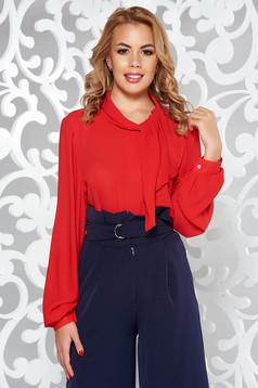 Bluza dama rosie eleganta cu croi larg din voal cu maneci lungi