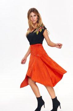 Top Secret orange casual asymmetrical high waisted skirt flaring cut from velvet fabric