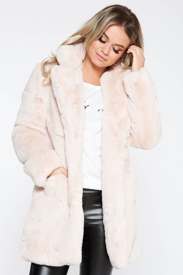 Blana SunShine roz deschis elegant cu buzunare in fata din blana ecologica captusit pe interior
