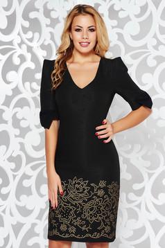 Rochie neagra eleganta tip creion cu un croi mulat din jaquard cu fir lame cu decolteu in v