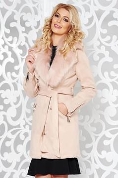 Geaca SunShine rosa casual din material catifelat captusita pe interior cu guler din blana cu buzunare