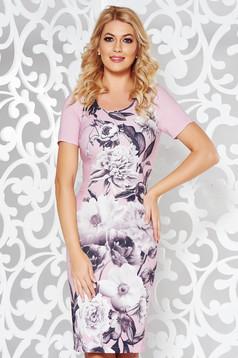 Rochie roz eleganta tip creion din stofa usor elastica cu imprimeuri florale