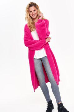 Pulover Top Secret roz-inchis casual tip cardigan cu croi larg tricotat