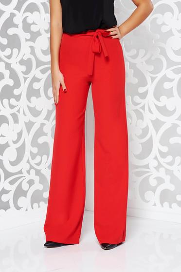 Pantaloni StarShinerS rosii eleganti evazati cu talie inalta din stofa usor elastica accesorizati cu cordon