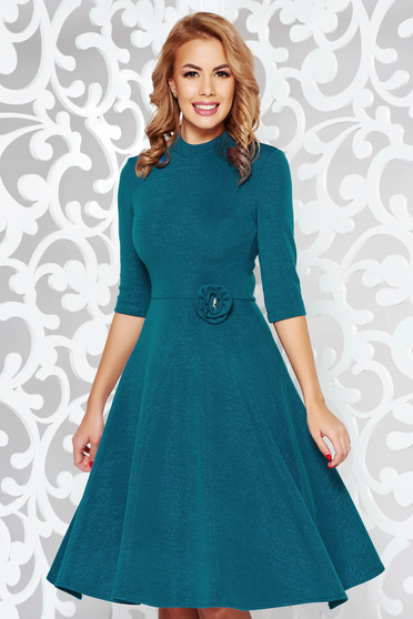 Rochie StarShinerS turcoaz eleganta in clos din material tricotat cu tesatura metalica cu luciu