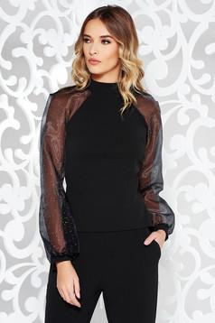 StarShinerS black elegant women`s blouse slightly elastic fabric long sleeved with bright details