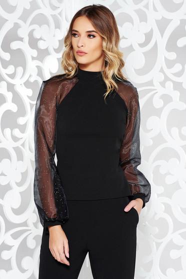Bluza dama StarShinerS neagra eleganta din material usor elastic cu maneci lungi cu aplicatii stralucitoare