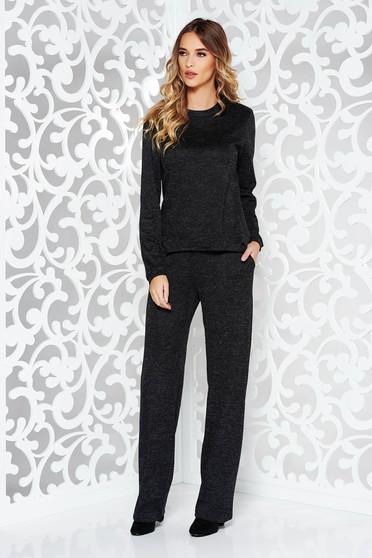 Compleu StarShinerS negru casual cu croi larg din material tricotat cu buzunare