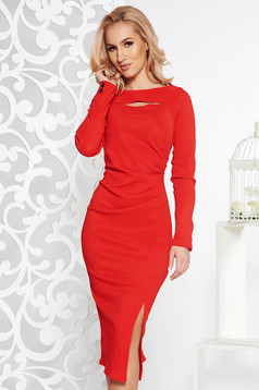 StarShinerS red scuba pencil dress long sleeved cut-out bust design