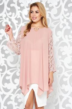 Bluza dama rosa eleganta asimetrica cu croi larg din voal cu maneci din dantela