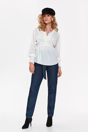 Bluza dama Top Secret alba casual cu croi larg cu decolteu din voal cu maneci lungi
