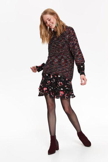 Pulover negru Top Secret casual cu maneca 3/4 cu croi larg din material tricotat